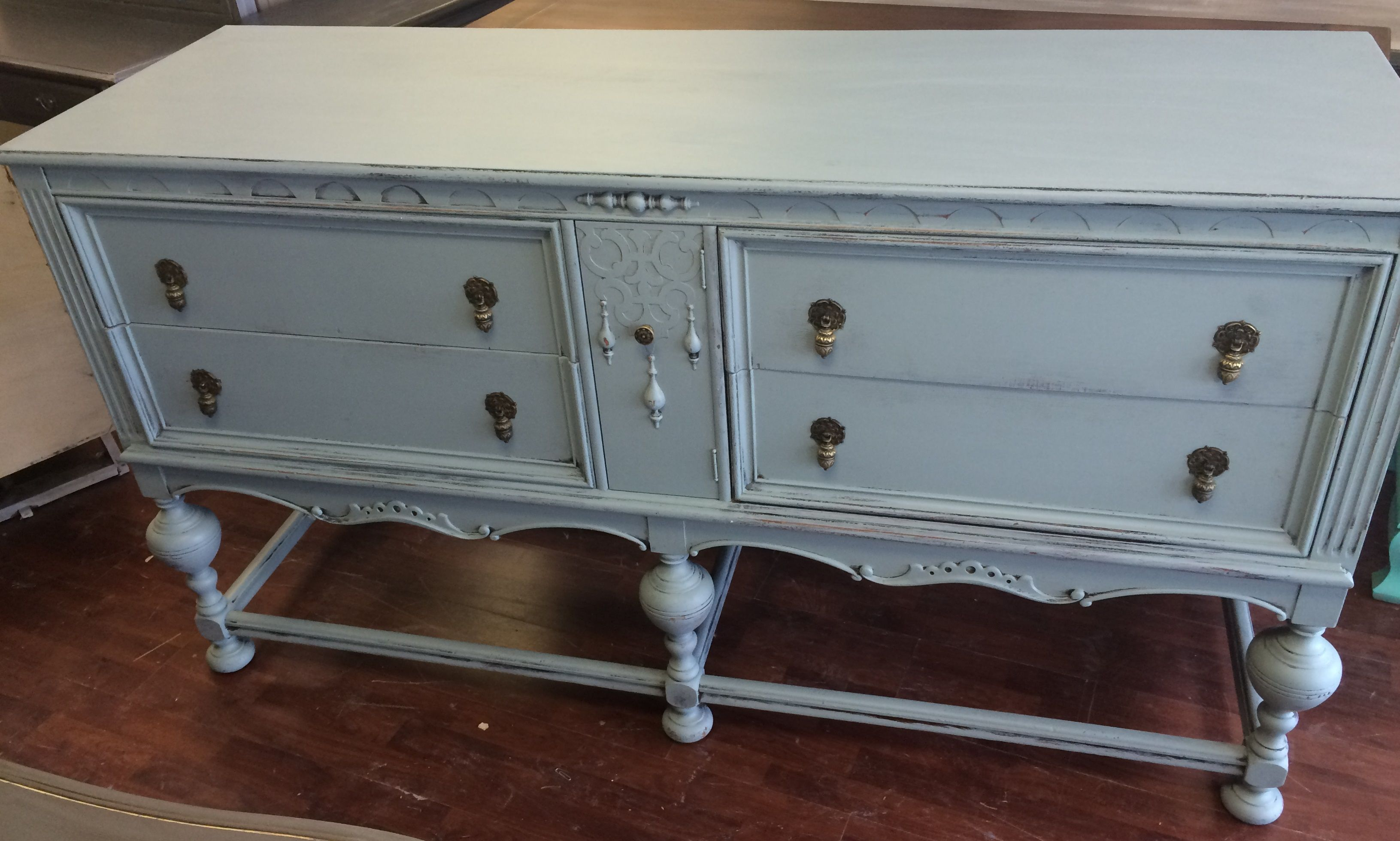 Here Is A Gorgeous Large Antique Buffet I Painted It With General Finishes Persian Blue I Included Shabby Chic Buffet French Country Furniture Antique Buffet