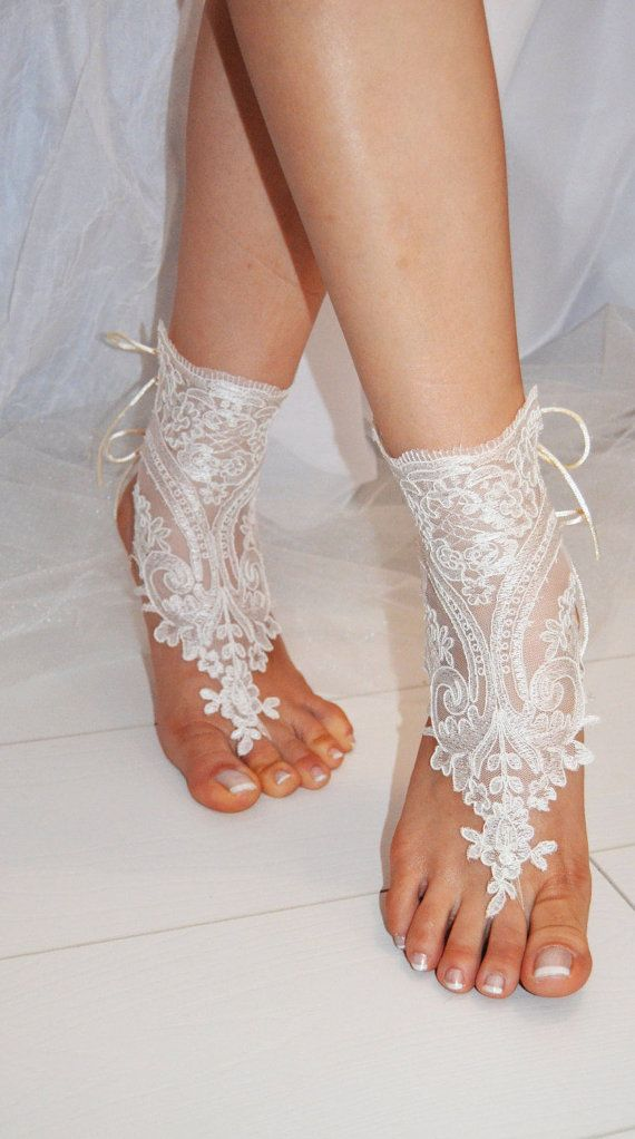 lace barefoot shoes lace beach anklets lace boho by BridalBeach
