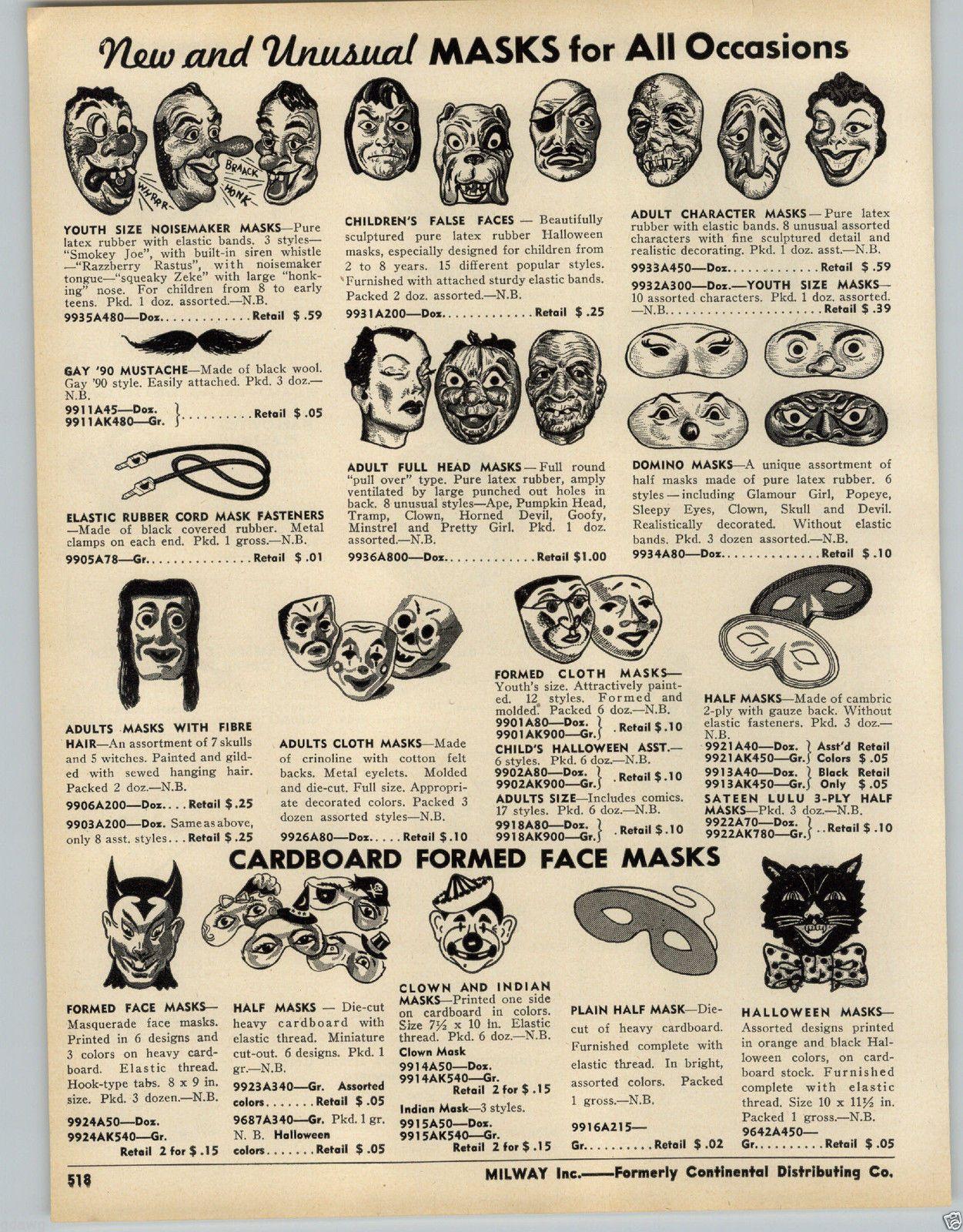1953 Paper Ad 9 Pg Halloween Decorations Noisemakers Costumes Mask Masks Lantern Ebay Vintage Halloween Costume Retro Halloween Vintage Halloween