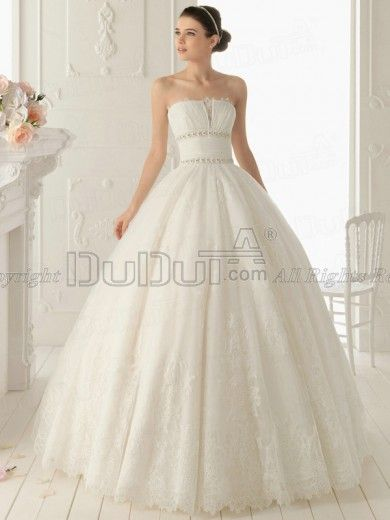 a104e7b5c2 Ball Gown Lace Tube Top Strapless Zipper Sweep Beading Wedding ...