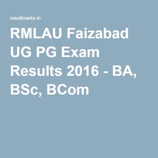 RMLAU Faizabad UG PG Exam Results 2016 - BA, BSc, BCom