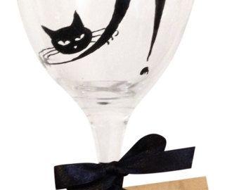 Cat Wine Glass Cat Wedding Painted Wine Glasses Wine Glass Y Wine