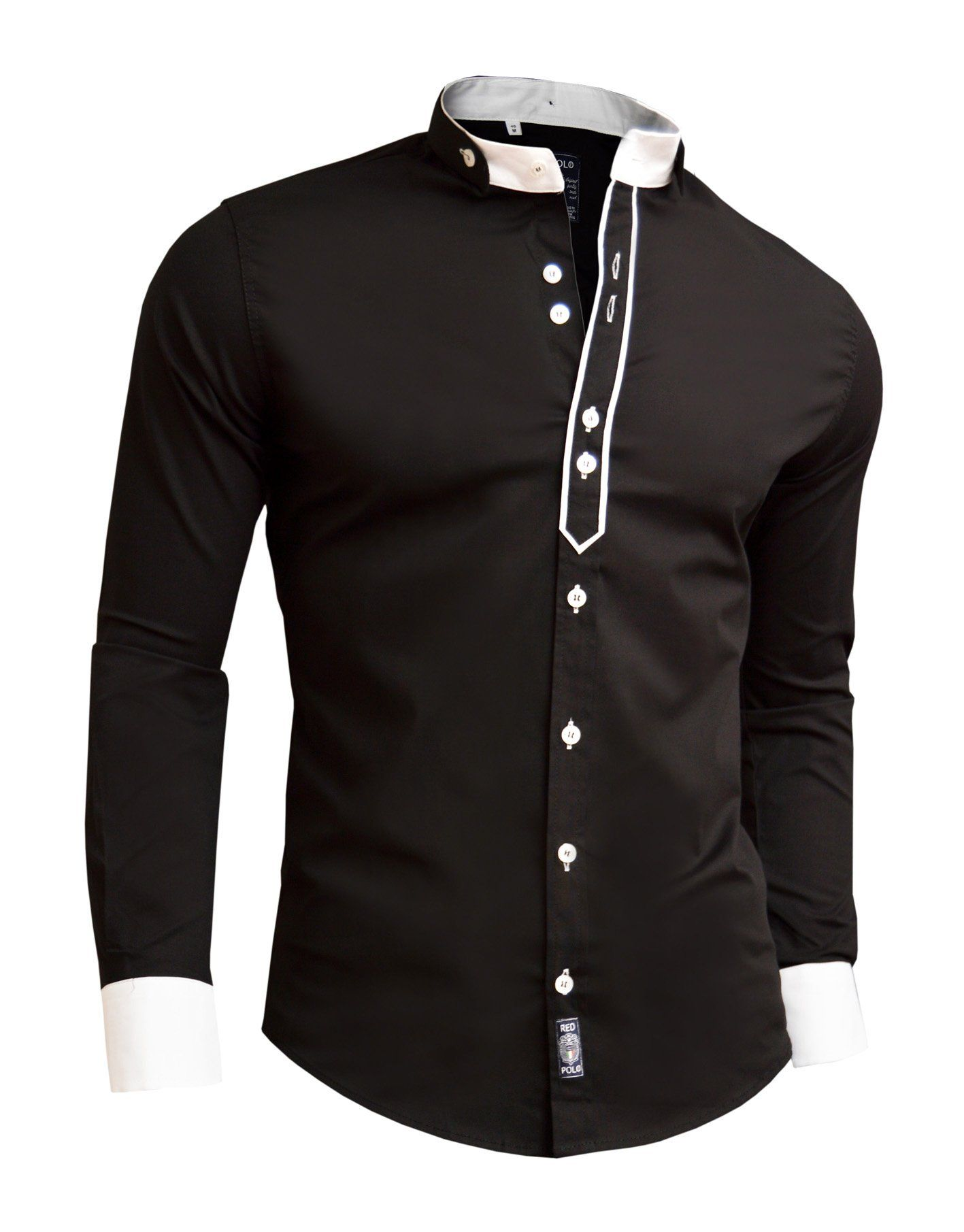 Designer Men Casual Formal Double Cuffs Grandad Band Collar Shirt