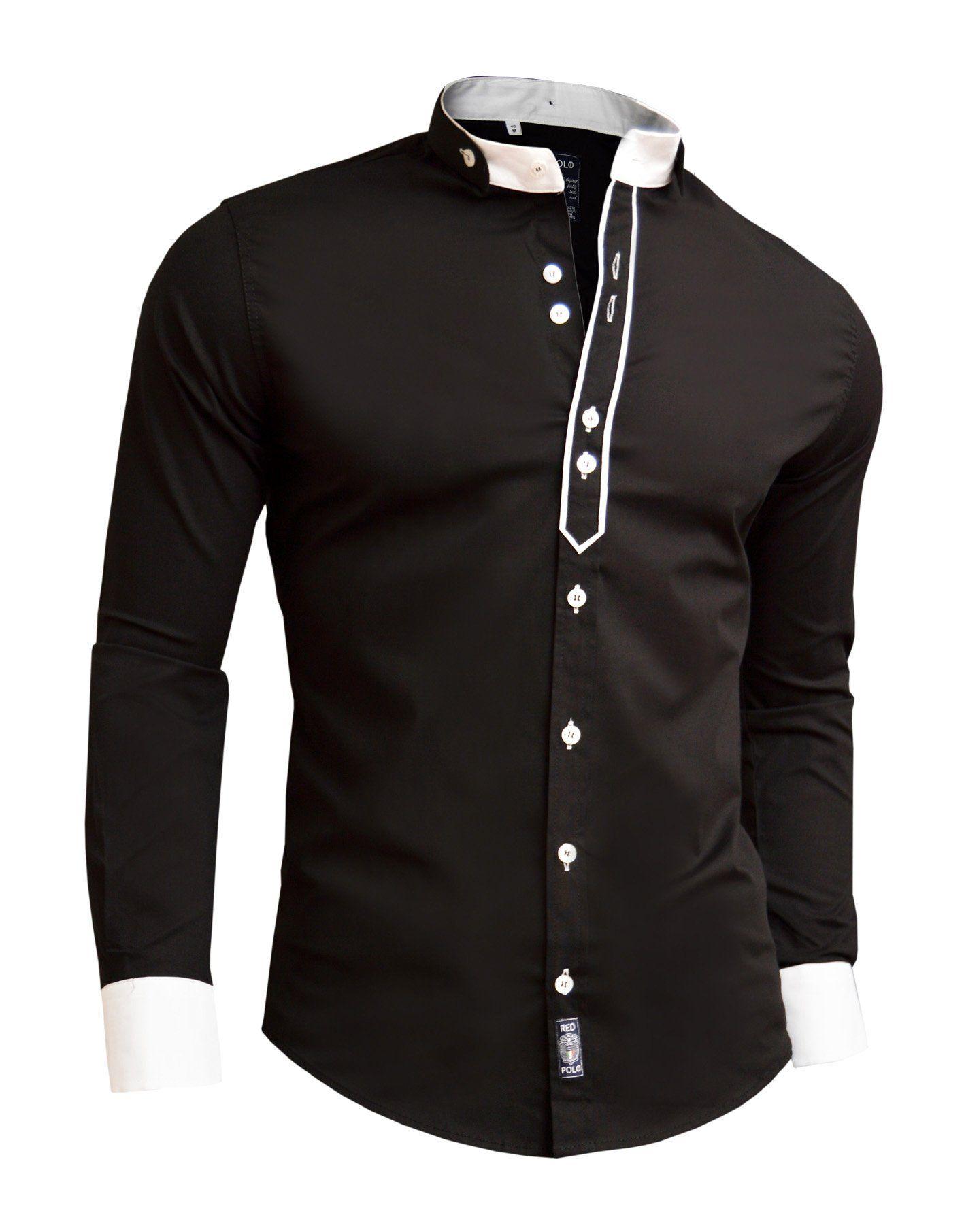 Shirt design with collar - Designer Men Casual Formal Double Cuffs Grandad Band Collar Shirt Elegant Tie Dr Amazon