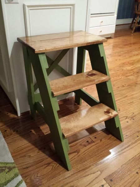 Do It Yourself Home Design: Step Stool With Stain & Paint Finish