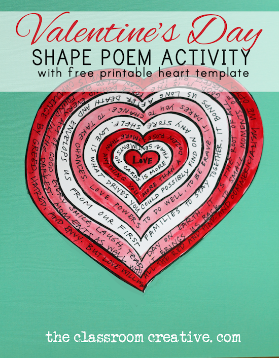 A must pin valentines day poetry activity with free printable valentines day poetry activity with free printable heart shape poem templatehappy valentines day from the classroom creative maxwellsz