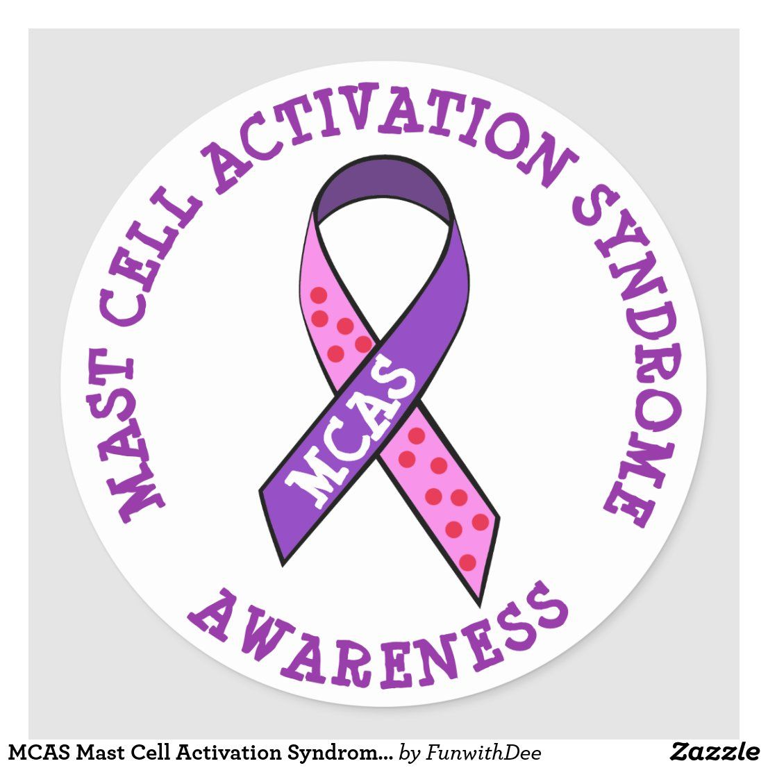 MCAS Mast Cell Activation Syndrome Awareness Ribbon Stickers
