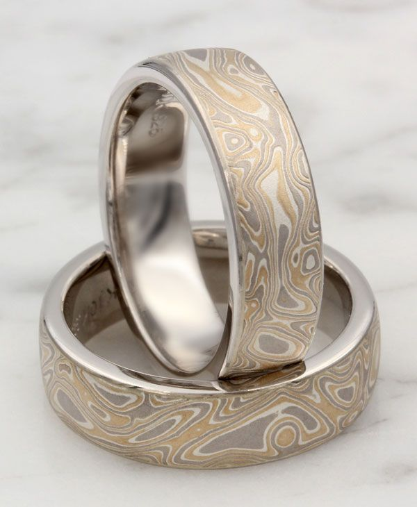 b2c299c93 Mokume wedding band set with palladium liners.Customize your wedding band  with one of 7 mokume gane styles Krikawa offers and choose from several  precious ...