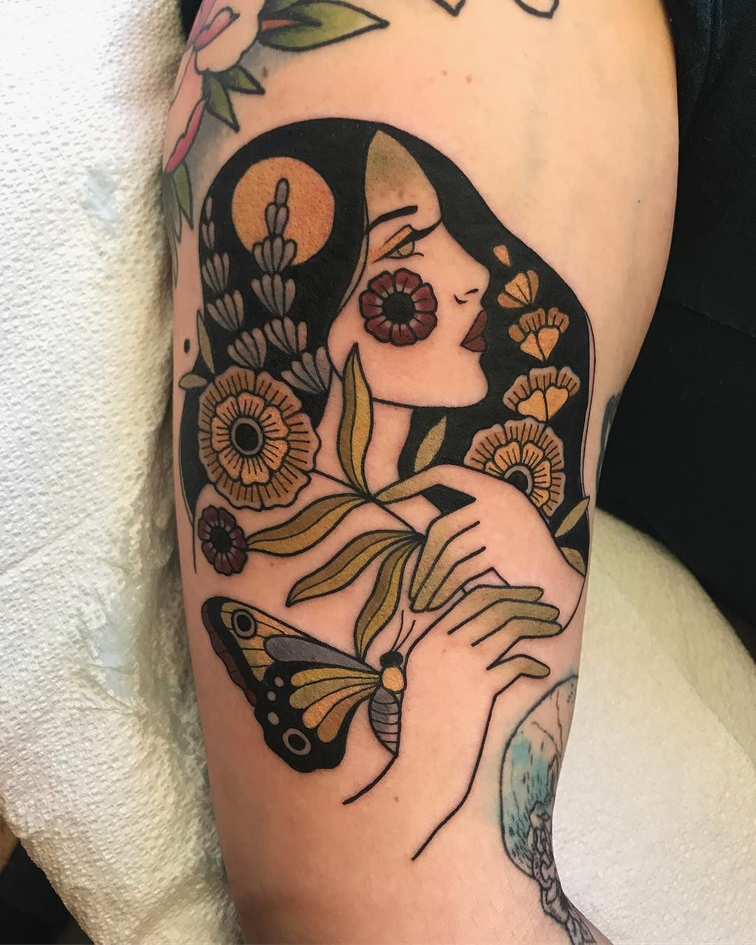 Woman with flowers and butterfly - folk art style tattoo ...