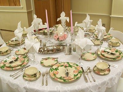 Beautiful table set with Fransican Desert Rose china. | Homes ideas ...