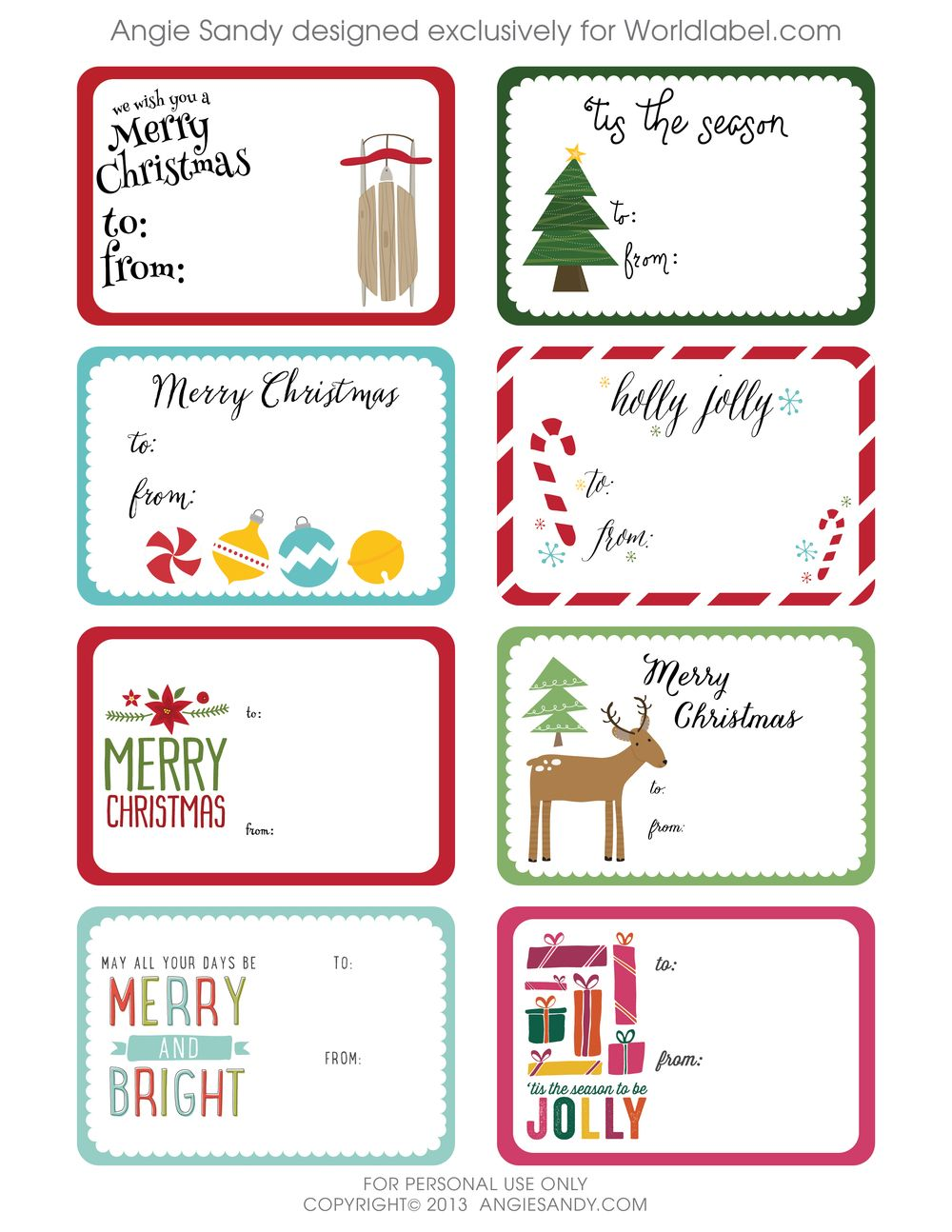 World Label Exclusive Christmas Gift Tag Printable