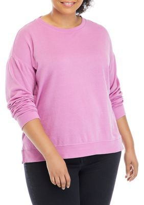 Crown & Ivy™ Plus Size Garment Dye Sweatshirt. Fashioned in a soft cotton blend, this garment dye sweatshirt from Crown & Ivy™ can be easily worn alone or layered over your favorite t-shirts.