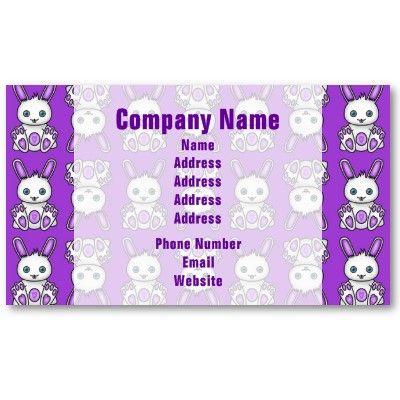 Kawaii purple bunny pattern business cards business cards shop kawaii purple bunny pattern business card created by hippygiftshop colourmoves