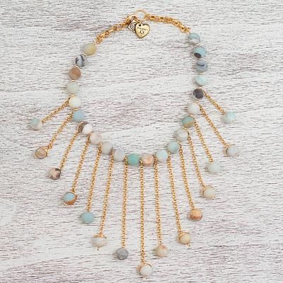 Gold plated amazonite waterfall necklace, 'Earthen Colors' - Gold Plated Amazonite Waterfall Necklace from Mexico