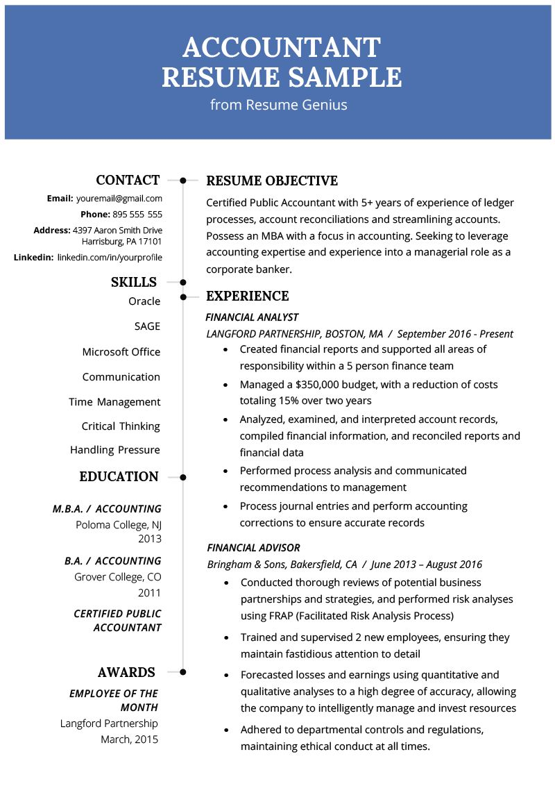Accounting resume examples in 2021 accountant resume