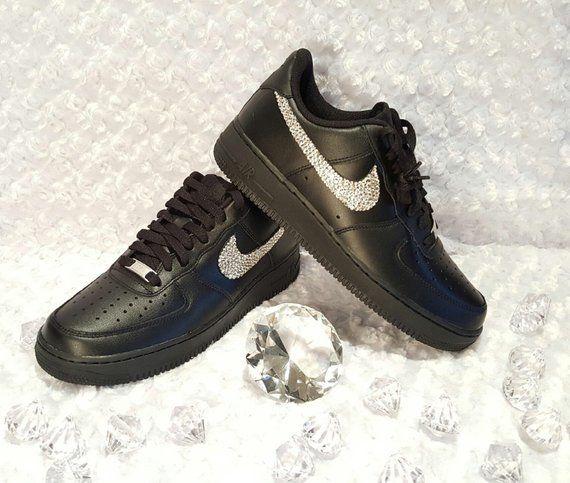 Custom Bling Womens Nike Air Force 1 07 Black Swarovski Crystal Bling  Sneakers d2b9ac1f4