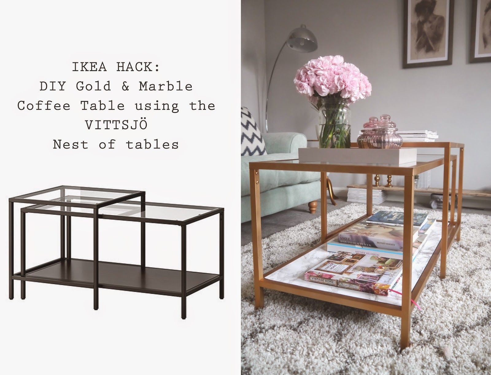 Vittsjo laptop table to upscale side table get home decorating - Ikea Hack Diy Gold And Marble Coffee Table Using The Vittsjo Nest Of Tables