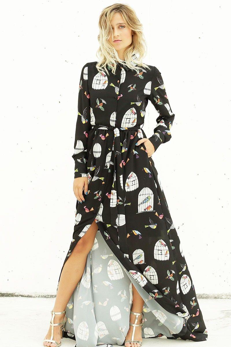 Camisero largo estampado con el fondo negro y preciosos dibujos de jaulas  blancas con pajaritos en azul y rosa. Un vestido diferente y original para  no ... db75a6040e9d