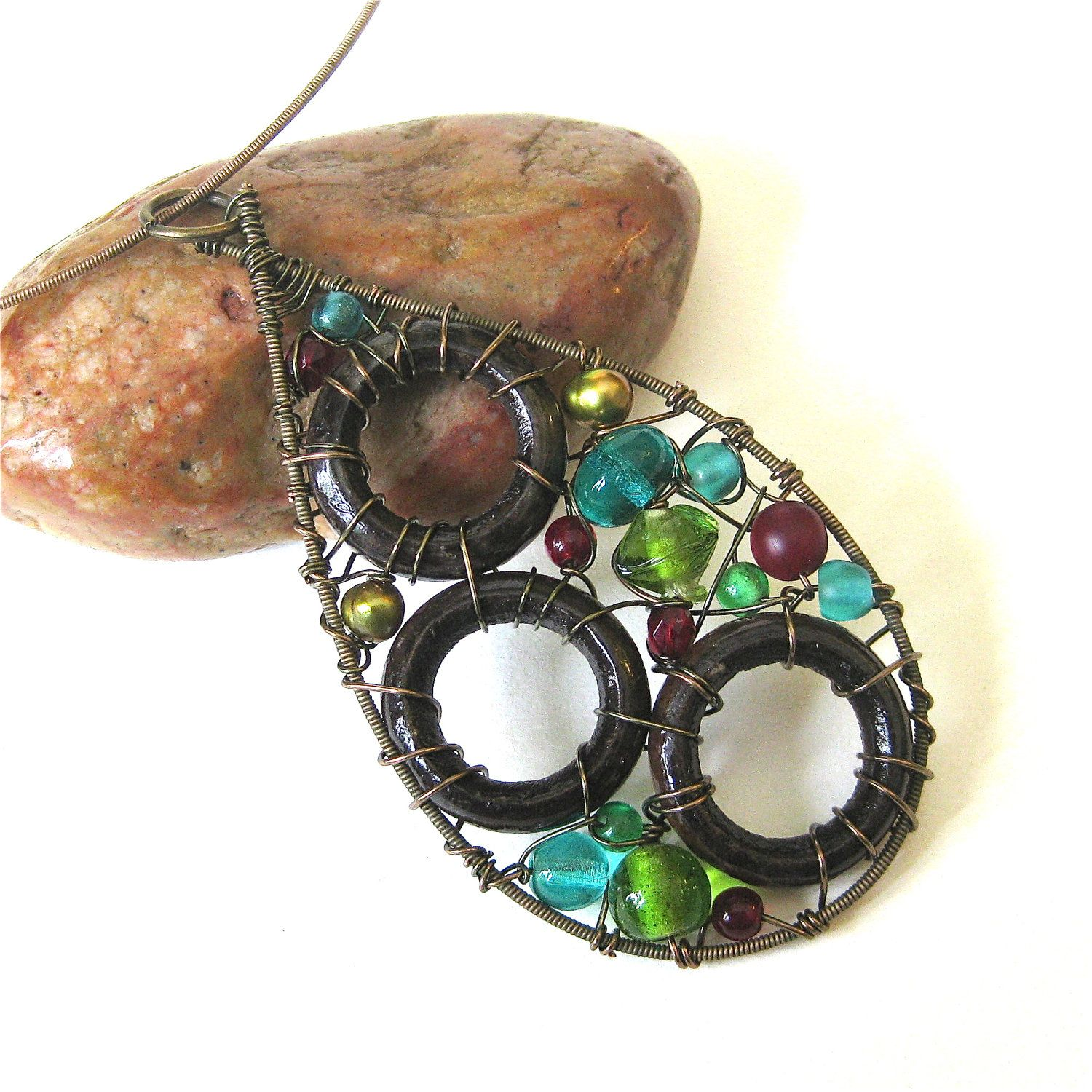 Recycled guitar string jewelry - Guitar String Necklace Wire Wrapped Pendant Recycled Jewelry Teardrop