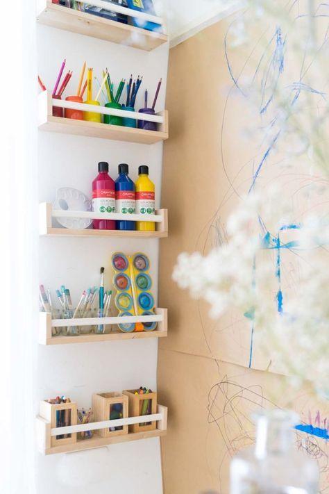 Kreativecke und Malwand für mehrere Kinder: Malen im Kinderzimmer (Yep, das sind diese IKEA-Gewürzdinger) #kitaräume
