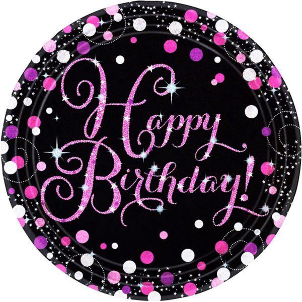 Gold 18th Celebration Birthday Party Paper Plates 23cm 18 Sparkling Celebr