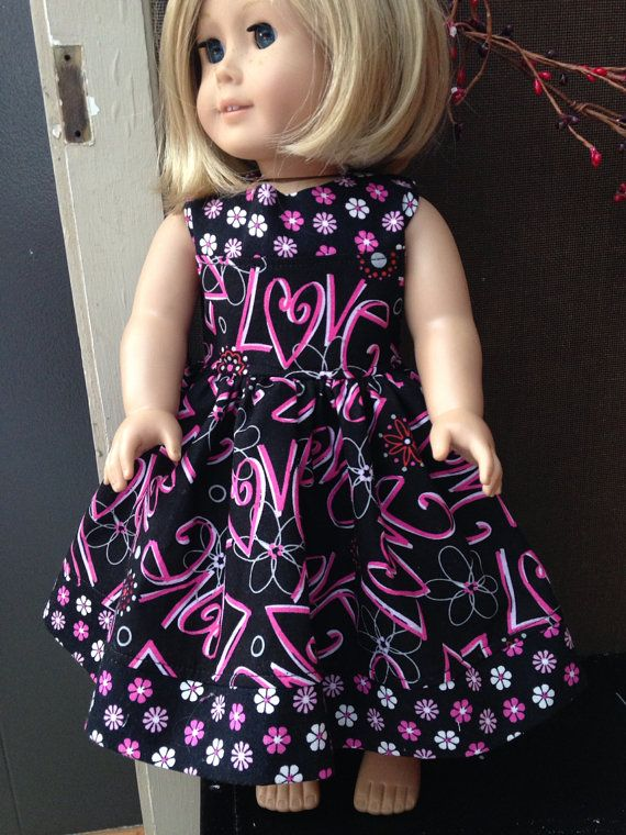 """Flowers & Love March Madness American Girl Doll Dress for 18"""" doll  wholesale on Etsy, $5.00"""