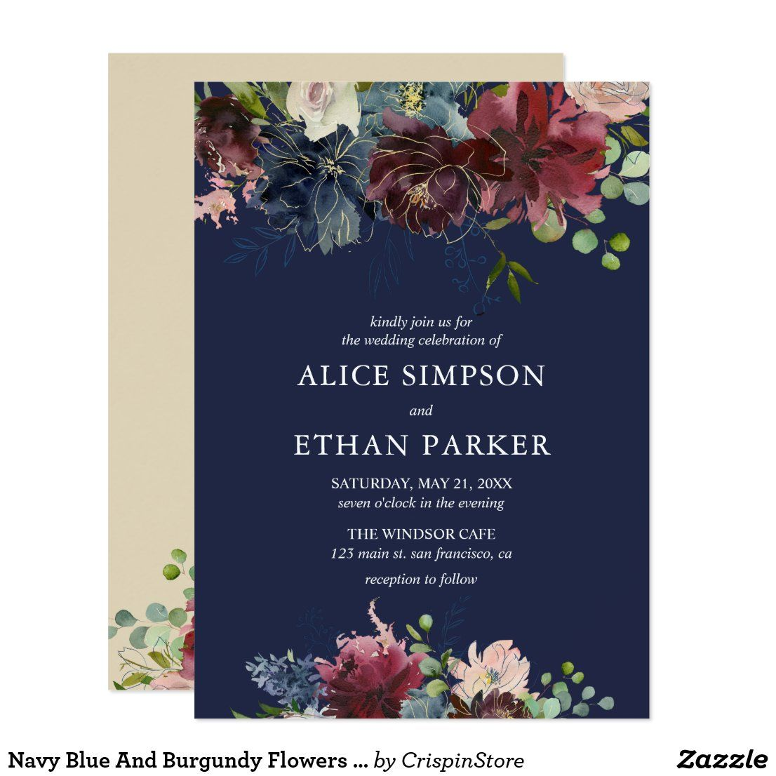 Navy Blue And Burgundy Flowers Wedding Invitation Zazzle