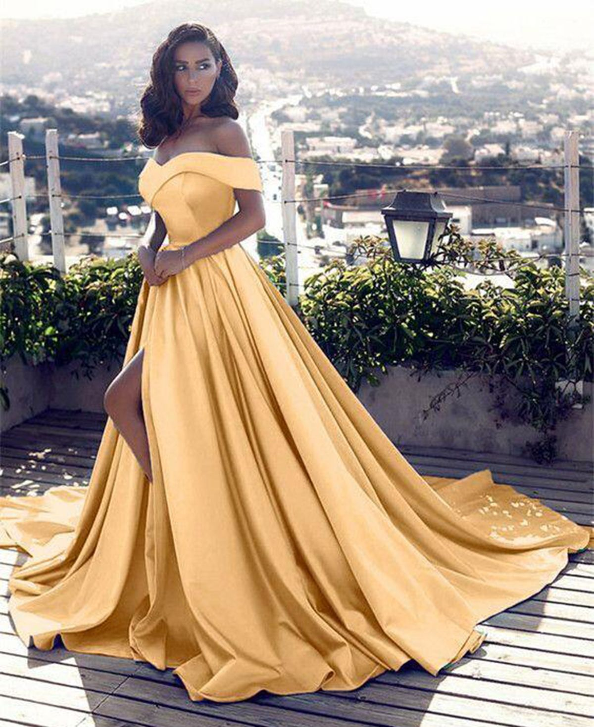 Mustard Yellow Prom Dresses Green Lace And Twirl This Dress