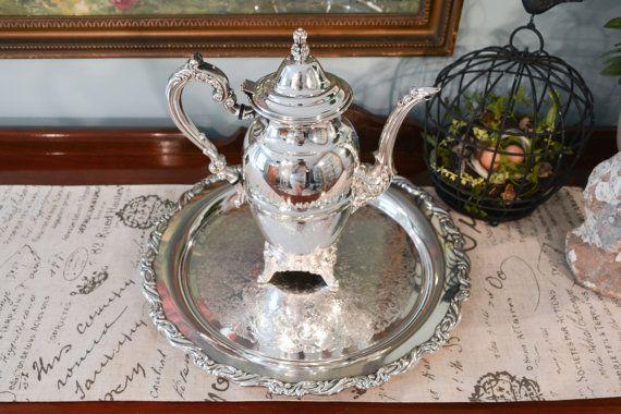 Oneida Royal Provincial Coffee Pot - Oneida Round Serving Tray - Two ...