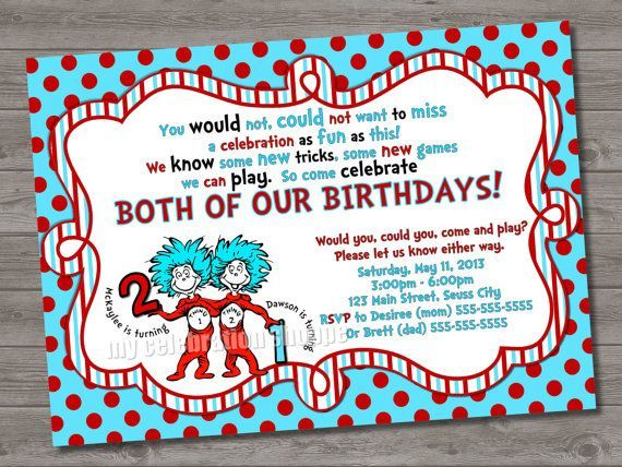 Cool FREE Template Thing 1 And 2 Birthday Party Invitations