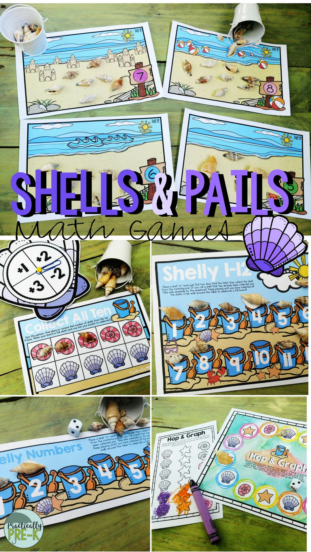Beach Math Games Seashells And Beach Pails