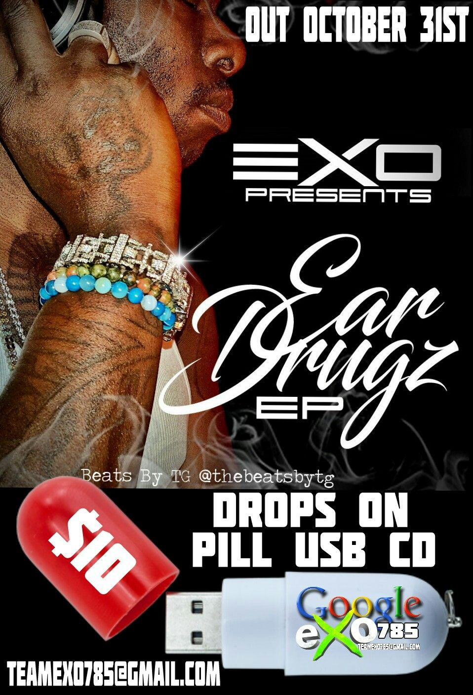 """OUT OCTOBER 31ST """"EAR DRUGZ"""" THE USB EP BY EXO (EXO785) ALL ORIGINAL BEATS BY TG. DROPS ON PILL USE FLASH DRIVE FOR $10 INCLUDING FULL CD """"EAR DRUGZ"""", INTERVIEWS, MUSIC VIDEO, SIGNED ARTWORK, A COOL USB AND MORE."""