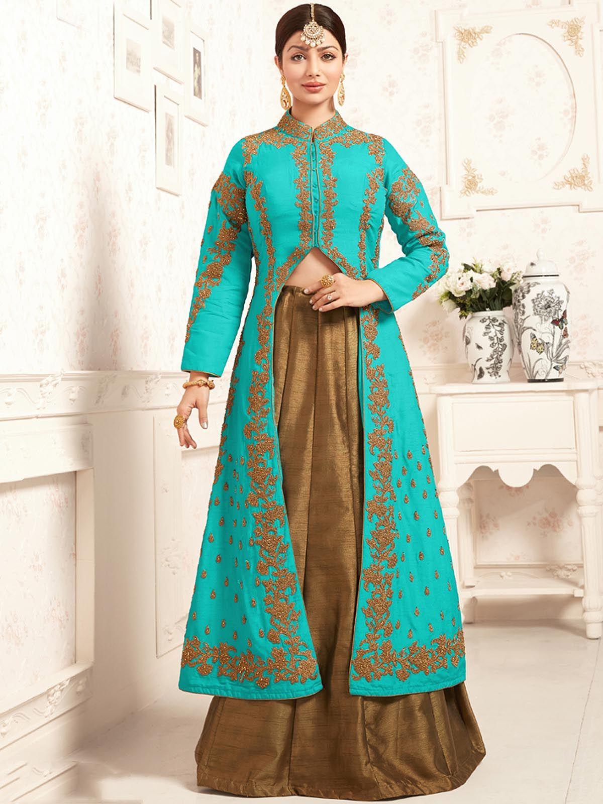 Stunning blue and beige wedding wear banglori silk designer salwar ...
