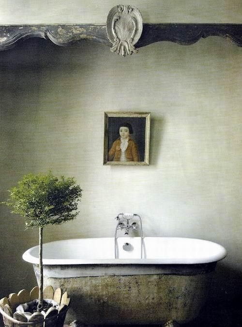 I like the silver grey shabby chic look for the bathtub a lot ...