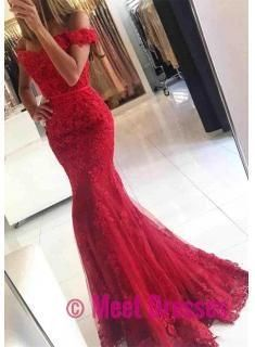 aa654a24f288 Red Prom Dresses,Charming Evening Dress,Off The shoulder Prom Gowns,Lace  Prom Dresses,New Prom Gowns,Red Evening Gown,mermaid Party Dresses  PD20181652