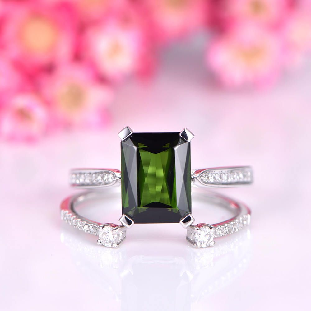 tourmaline ring set 7x9mm emerald cut tourmaline engagement ring ...