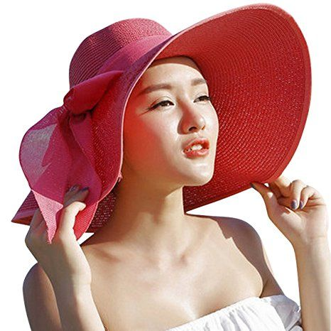 f268dacf64998 Women Floppy Hat Big Bowknot Straw Hat Wide Khaki Brim Beach Hat Sun Hat at Amazon  Women s Clothing store