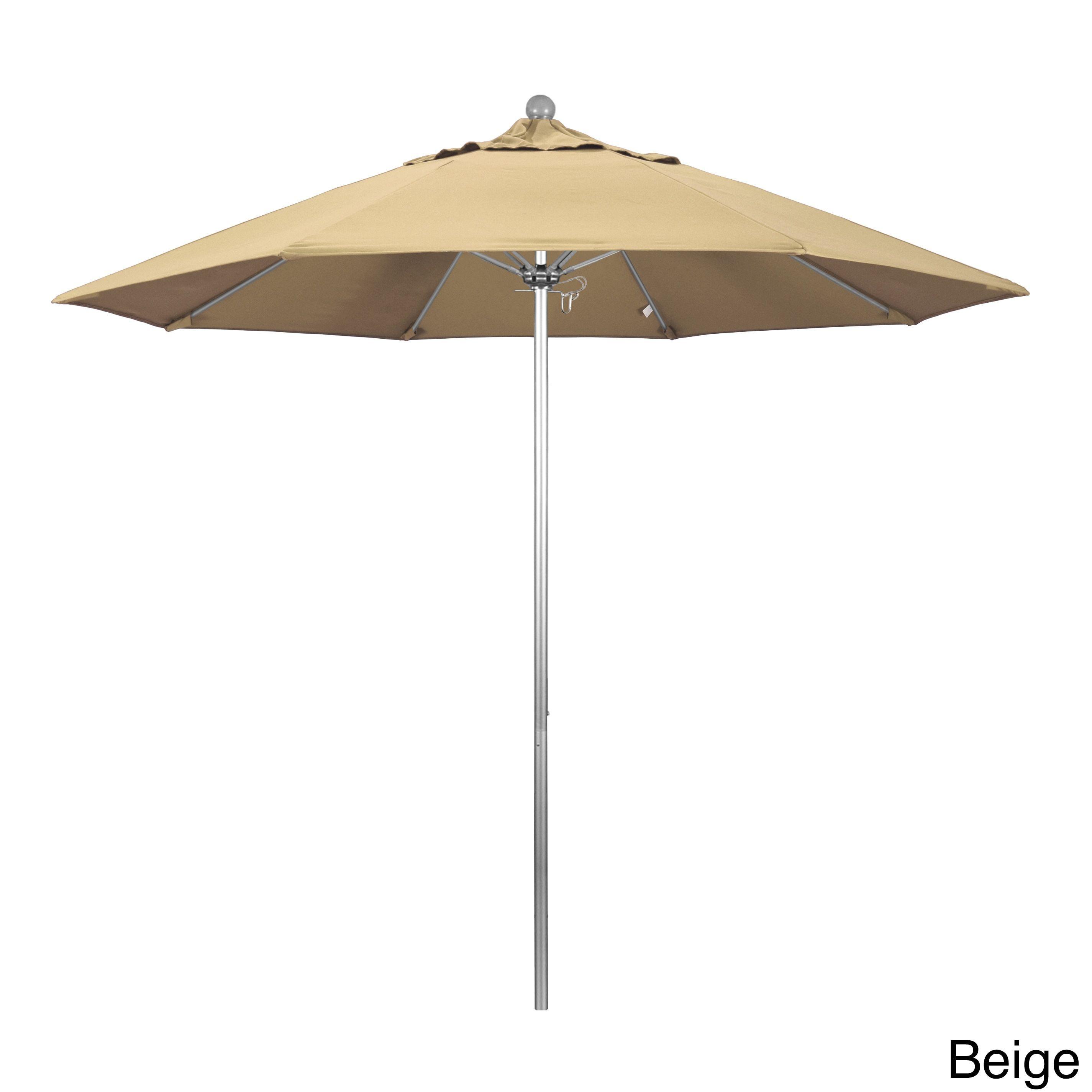 California Umbrella 9' Rd. Frame, Fiberglass Rib Market Umbrella, Push Open,Anodized Silver Finish, Pacifica Fabric
