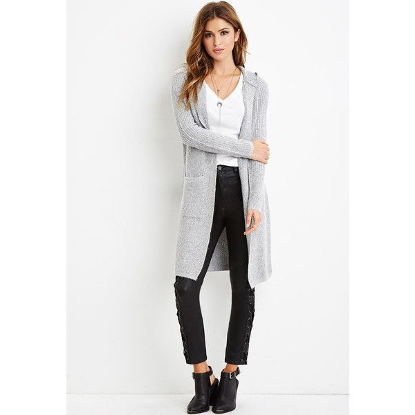 Forever 21 Women's Longline Hooded Cardigan ($35) ❤ liked on ...