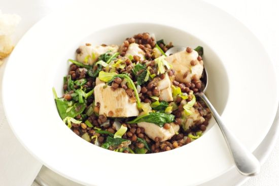 Our braised chicken with spinach and lentils is low in fat and high in protein and fibre.