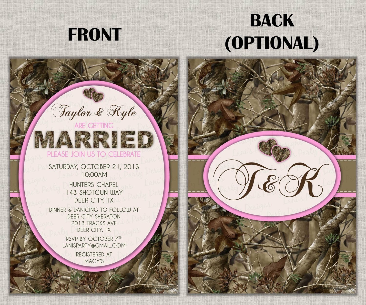 Hunting Camo Wedding Invitation Bridal by lanispartydesigns ...