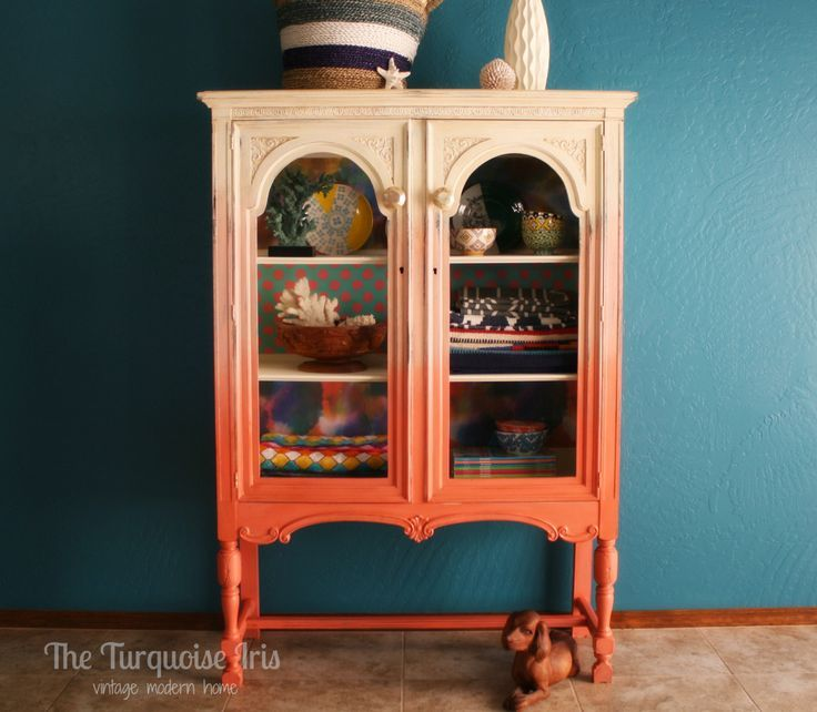 Coral Ombre' Antique Hutch / Storage by TheTurquoiseIris on Etsy