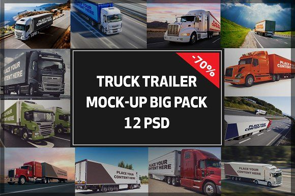 Truck Trailer Mock-up Bigpack#2 by vraiana on @creativemarket