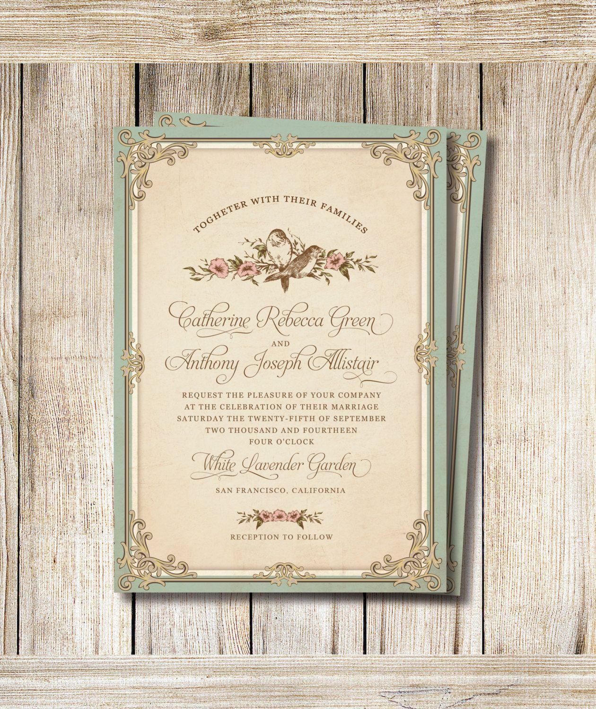 Printable Wedding Invitation Set Dyi Invitation By Rosebonbonsh Wedding Invitations Diy Vintage Vintage Wedding Invitations Vintage Wedding Invitation Wording