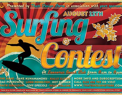 Check Out New Work On My Behance Portfolio Surfing Contest Flyer