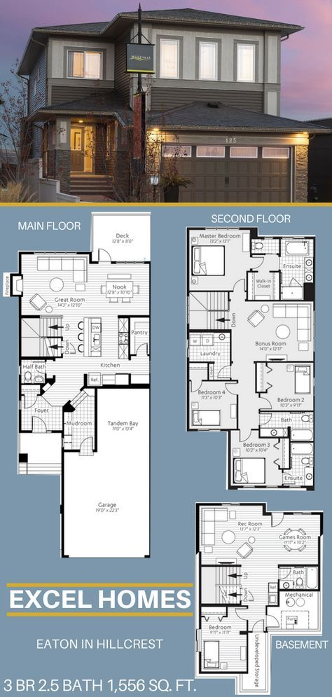 Eaton 2 Story Floor Plan With Basement 3 Bedroom 2 5 Bathroom 1 556 Sq Ft From Excel Homes Find More S Basement House Plans House Blueprints House Layouts