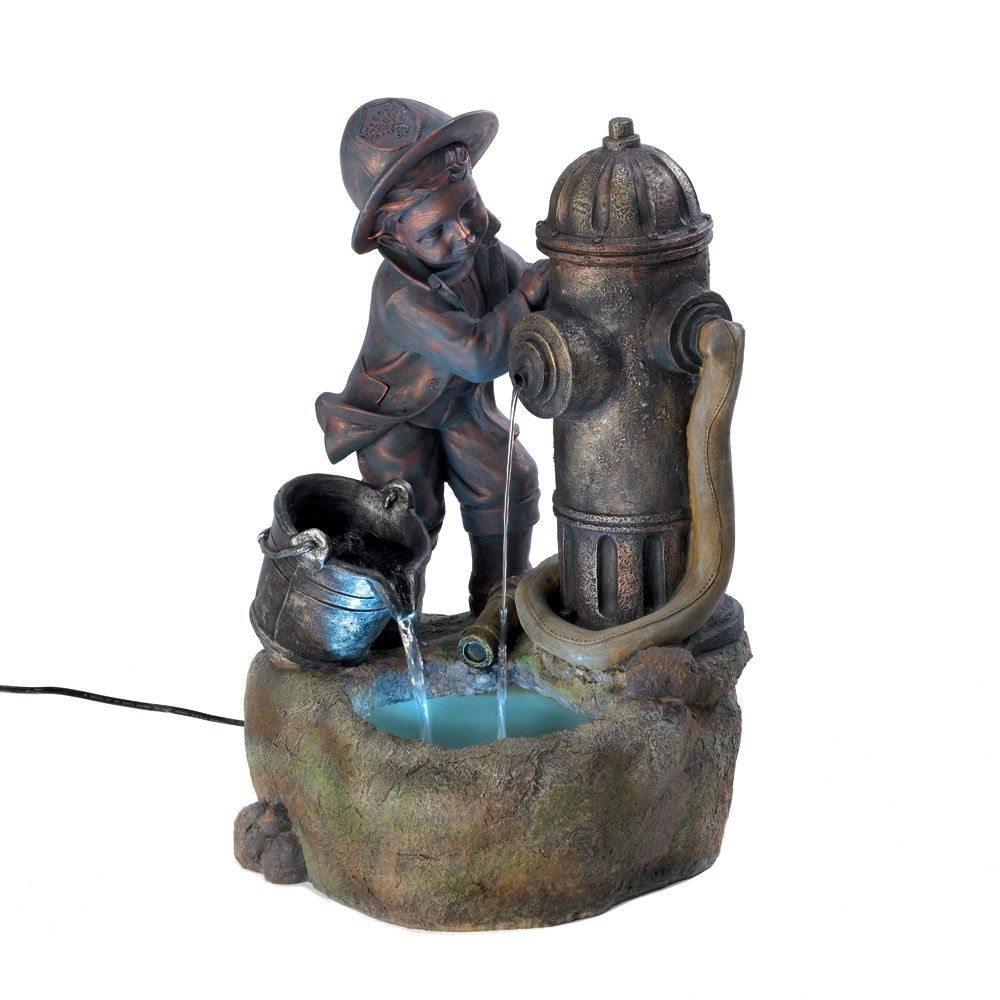 Littlest+Fireman+Indoor+Fountain You+can+almost+hear+the+innocent+laughter+as+you+gaze+upon+this+child+at+play!+Charming+fountain+depicts+a+young+boy'+delight+as+he+watches+the+water'+sparkling+cascade+from+hydrant+and+pail.++Indoor+use+only.Submersible+pump+included.+