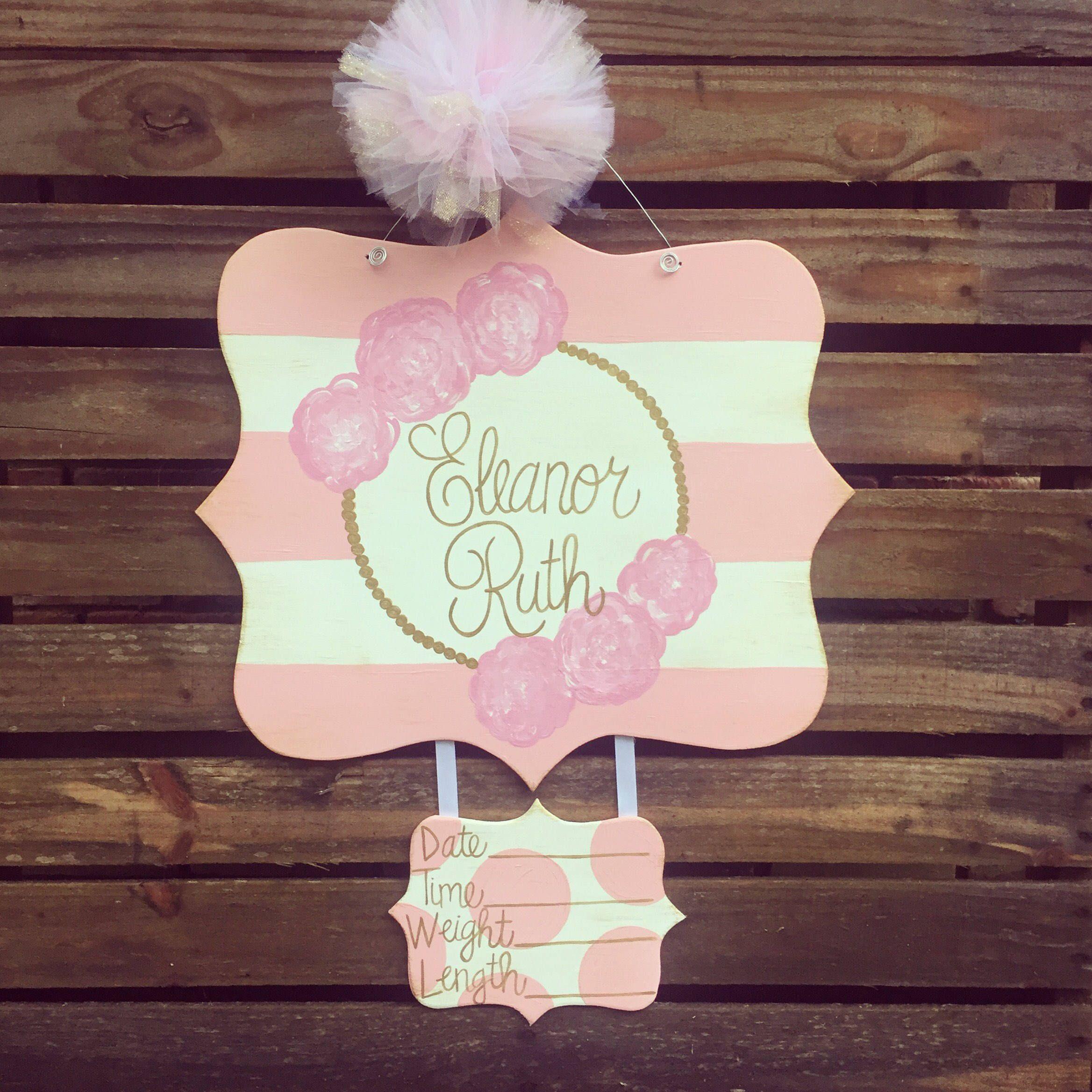 Hospital Door Hanger, Baby Door Hanger, Birth Announcement