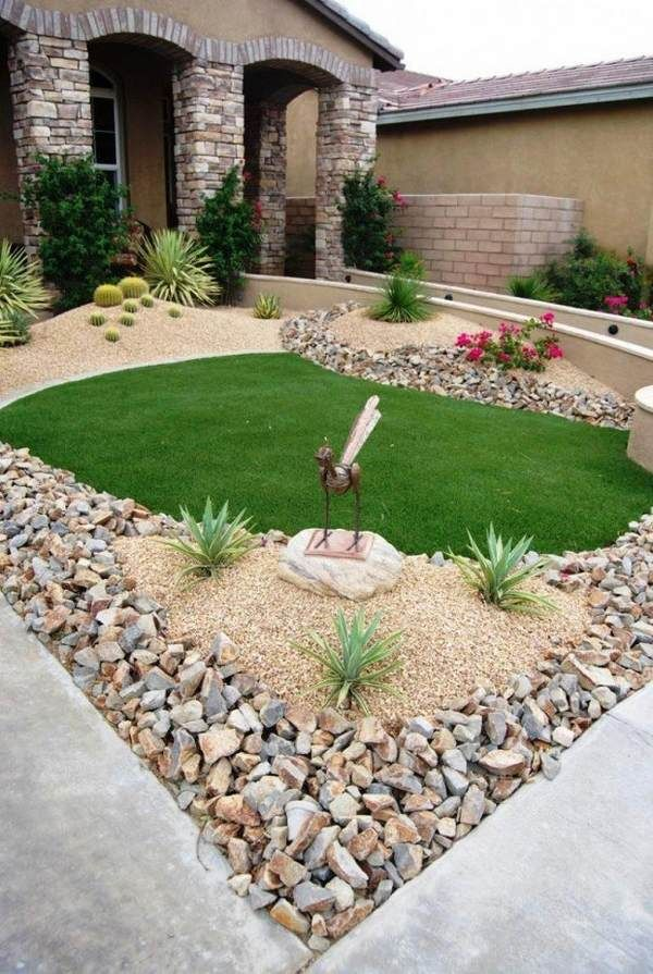 Landscaping Ideas For Small Front Yards Garden Design Gravel Lawn Decorative Sculpture