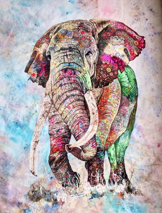 Three Elephants Teal And White Chevron On Grey Art Print